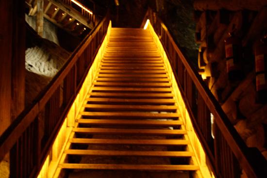 Glowing Staircase In The Wieliczka Salt Mine